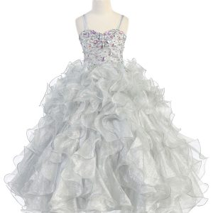 Girls Silver Pageant Gown with Ruffled Skirt and Metallic Bodice
