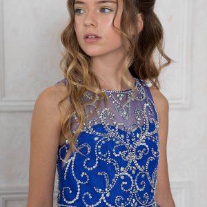Girls Sleeveless Pageant Gown Rhinestone Patten Royal Blue
