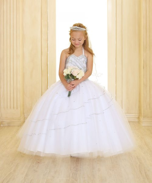 Girls White Beaded First Communion Gown with Bolero Jacket