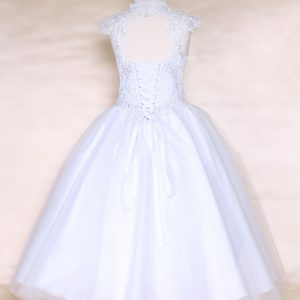 Girls White Communion or Pageant Dress Tulle with Lace Accents