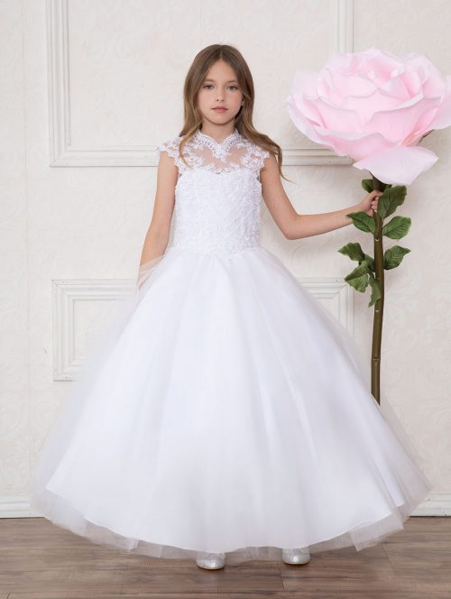 Girls White First Communion or Pageant Dress Tulle with Lace Accents
