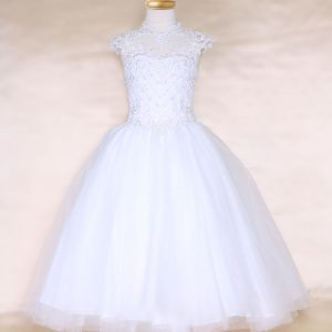 Girls White Pageant Dress Tulle with Lace Accents