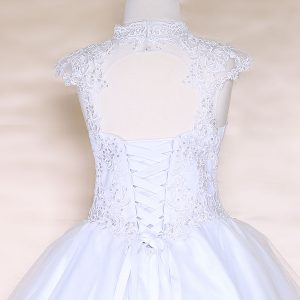 Girls White Pageant Dress Tulle with Lace Accents Scoop Back