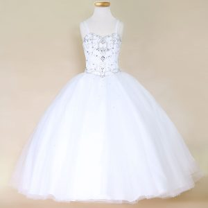 Girls White Pageant Dress with Rhinestone Bodice