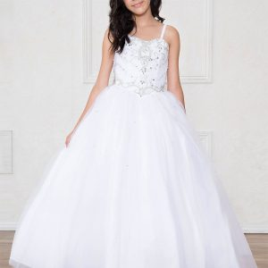 Girls White Pageant Dress with Rhinestone Bodice Long Length