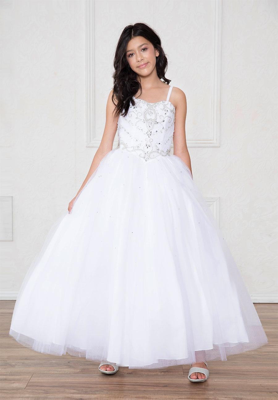 Girls First Communion Gown with Rhinestone Bodice – FirstCommunions.com