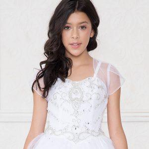Girls White Pageant Dress with Rhinestone Bodice Open Back