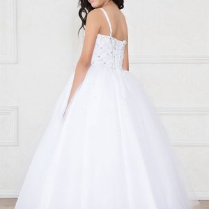 Girls White Pageant Gown with Rhinestone Bodice