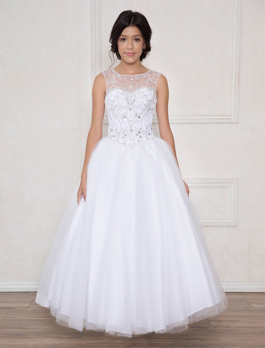 4fc407432ff Long Length Girls First Communion Dress with Open Corset Back –  FirstCommunions.com
