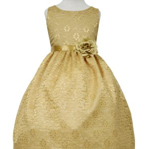 Gold Flower Girl Dress Floral Lace Overlay