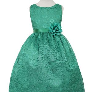Green Flower Girl Dress Floral Lace Overlay