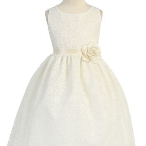 Ivory Flower Girl Dress Floral Lace Overlay