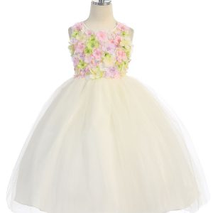 Ivory Flower Girl Dress with Flower Patch Bodice
