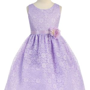 Lilac Flower Girl Dress Floral Lace Overlay