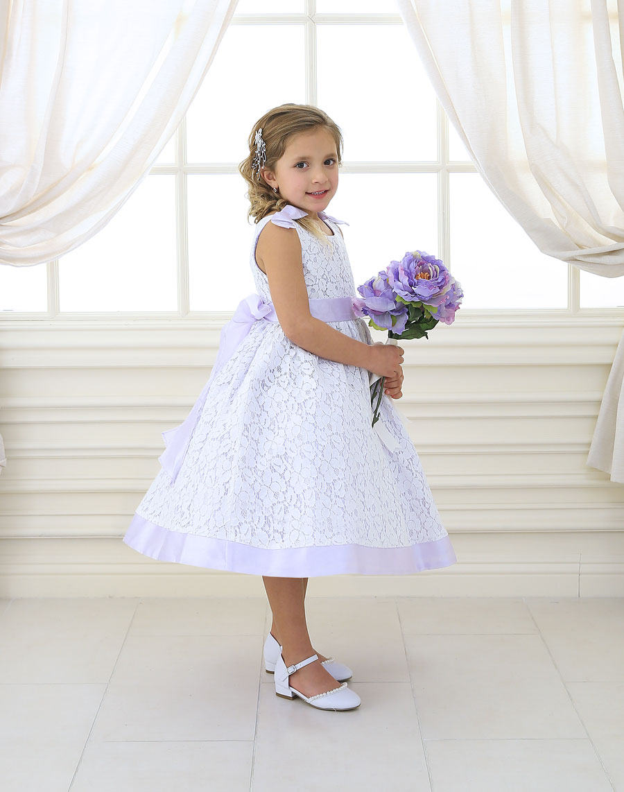 Lilac Flower Girl Dress Soft Lace