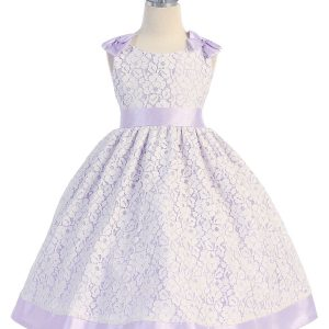 Lilac Flower Girl Dress with Soft Lace Overlay