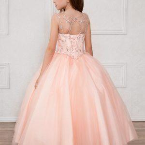 Long Length Girls Blush Pageant Dress Open Corsett Back