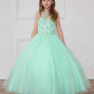 Long Length Girls Mint Pageant Dress Open Back