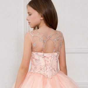 Blush Color Long Length Girls Pageant Dress Open Back