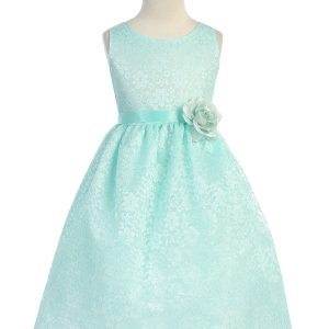 Mint Flower Girl Dress Floral Lace Overlay