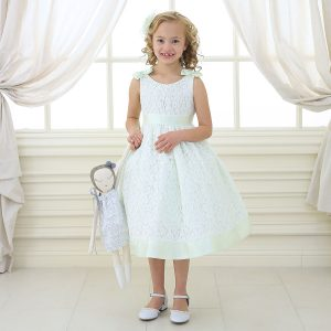 Mint Flower Girl Dress with Soft Lace