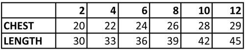 Pageant Dress Size Chart