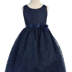 Navy Blue Flower Girl Dress Floral Lace Overlay
