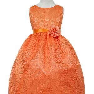 Orange Flower Girl Dress Floral Lace Overlay