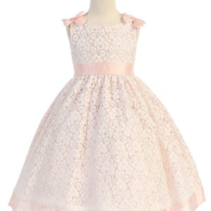 Peach Flower Girl Dress with Soft Lace