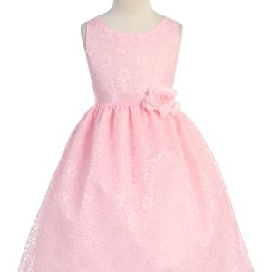 Pink Flower Girl Dress Floral Lace Overlay