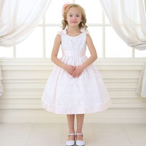 Pink Flower Girl Dress with Soft Lace