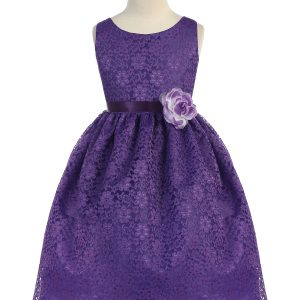 Purple Flower Girl Dress Floral Lace Overlay