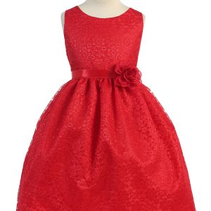 Red Flower Girl Dress Floral Lace Overlay