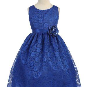 Royal Blue Flower Girl Dress Floral Lace Overlay