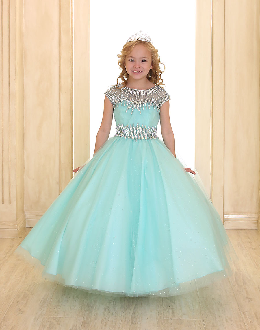 Girls Ball Gown with Cap Sleeves