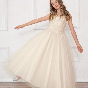 Scoop Back Champagne Girls Beaded Prom Gown Champagne