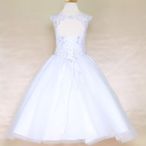 Scoop Back Girls Beaded First Communion or Prom Gown White