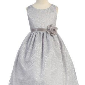Silver Flower Girl Dress Floral Lace Overlay