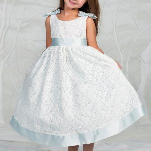 Sky Blue Flower Girl Dress with Soft Lace