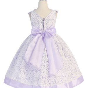 Tea Length Lilac Flower Girl Dress with Soft Lace