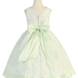 Tea Length Mint Flower Girl Dress with Soft Lace
