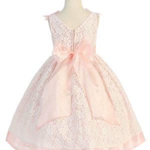 Tea Length Peach Flower Girl Dress with Soft Lace