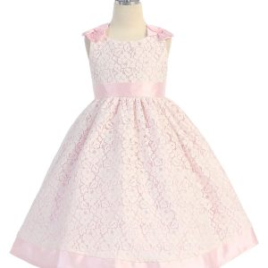 Tea Length Pink Flower Girl Dress with Soft Lace