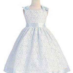 Tea Length Sky Blue Flower Girl Dress with Soft Lace