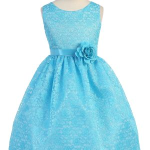 Turquoise Flower Girl Dress Floral Lace Overlay