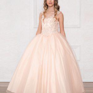 V Neck Blush Pink Girls Beaded Prom Gown