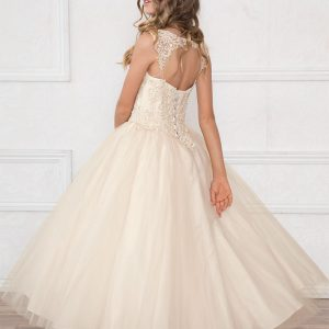 V Neck Champagne Girls Beaded Prom Gown Champagne