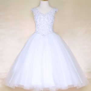 V Neck Girls Beaded First Communion or Prom Gown White