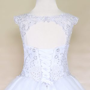 V Neck Girls Beaded First Communion or Prom Gown White Scooped Back