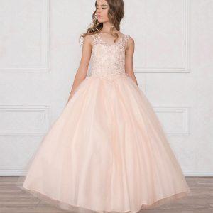 V Neck Girls Beaded Prom Gown Blush Pink
